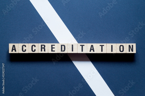 Accreditation Word Written In Wooden Cube Wallpaper Mural