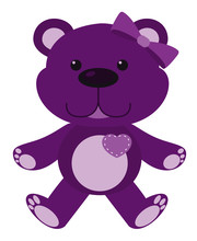 Cute Teddy Bear In Purple Colo...