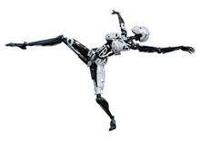 3D Rendering Female Robot On W...
