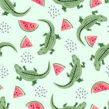 Seamless Crocodile Pattern With Watermelon Slices. Vector Abstract Trendy Background.