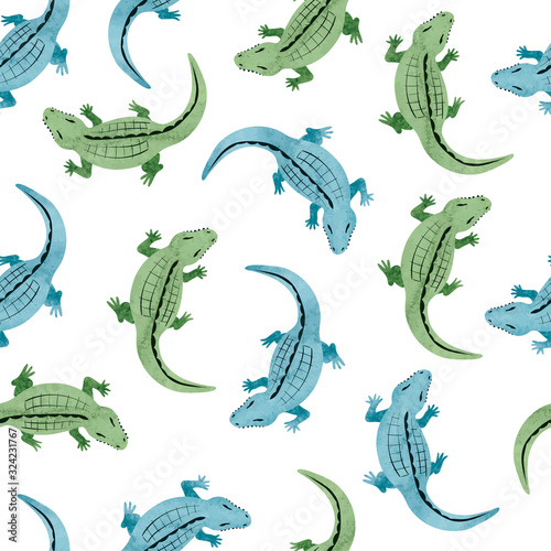Photo Green and blue watercolor crocodile pattern