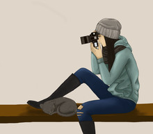 Isolated Illustration Teenager Sitting On The Bench With Sleeping Cat And Taking Photos, Digital Paint A Girl Relaxing On Chaor Shooting Photos