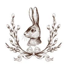 .Easter Bunny In A Wreath Of W...