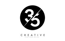 35 3 5 Number Logo Design With A Creative Cut And Black Circle Background.