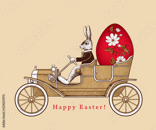 Leinwand Poster .Easter Holiday Card. .Easter bunny on a retro car carrying an Easter .egg . Vin