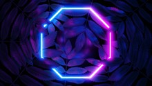 3D Render. Neon Polygon Or Rho...