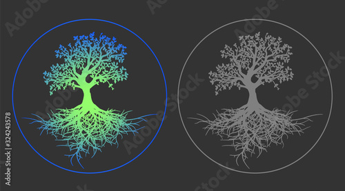 Photo Bright neon tree of life vector illustration on gray background