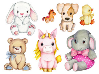 Set of cute cartoon toy animals for kids. Watercolor, hand drawn, isolated.
