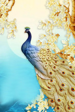3d Mural Illustration Background With Golden Jewelry And Flowers , Simple Decorative Wood Wallpaper . Colored Peacock . Suitable For Use On A Wall Frame
