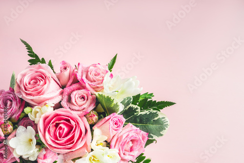 Beautiful and tender bouquet of flowers in the hat box, nice present concept Canvas Print