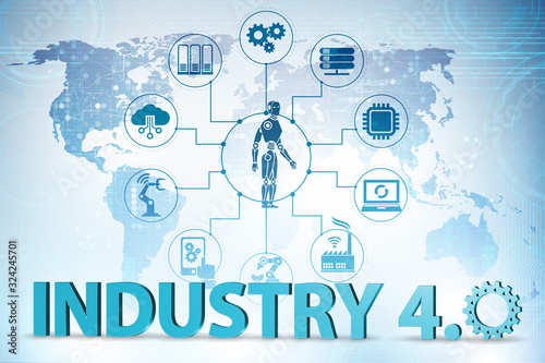 Fototapeta Industry 4.0 concept with various stages - 3d rendering obraz