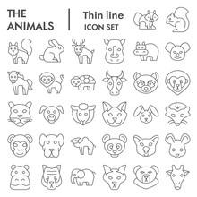 Animals Thin Line Icon Set, Wi...