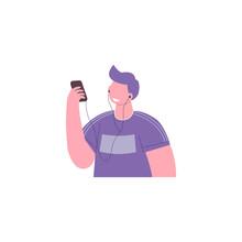 Joyful Person Wearing Earphones And Headphones, Listening To Music And Dancin. Flat Style. Vector Illustration