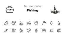 Fishing Line Icon Set. Fisherm...