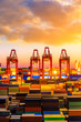 Industrial port container freight terminal at beautiful sunset in Shanghai,China.