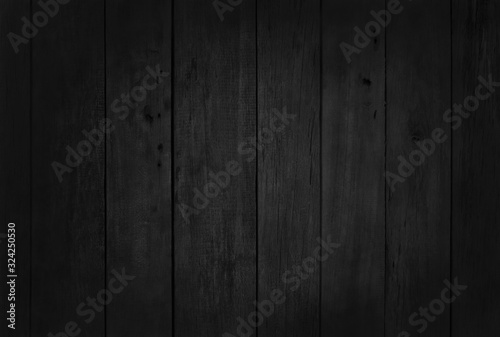 Fototapeta Black wooden wall background, texture of dark bark wood with old natural pattern for design art work, top view of grain timber. obraz na płótnie