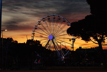 Colorful Sky And Ferris Wheel....