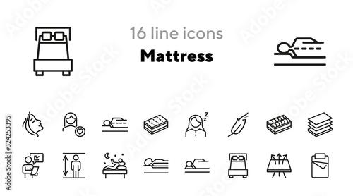 Cuadros en Lienzo Mattress line icon set