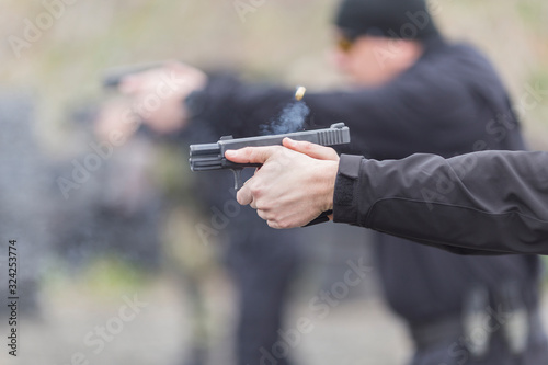 police, army and border police gun training Tablou Canvas