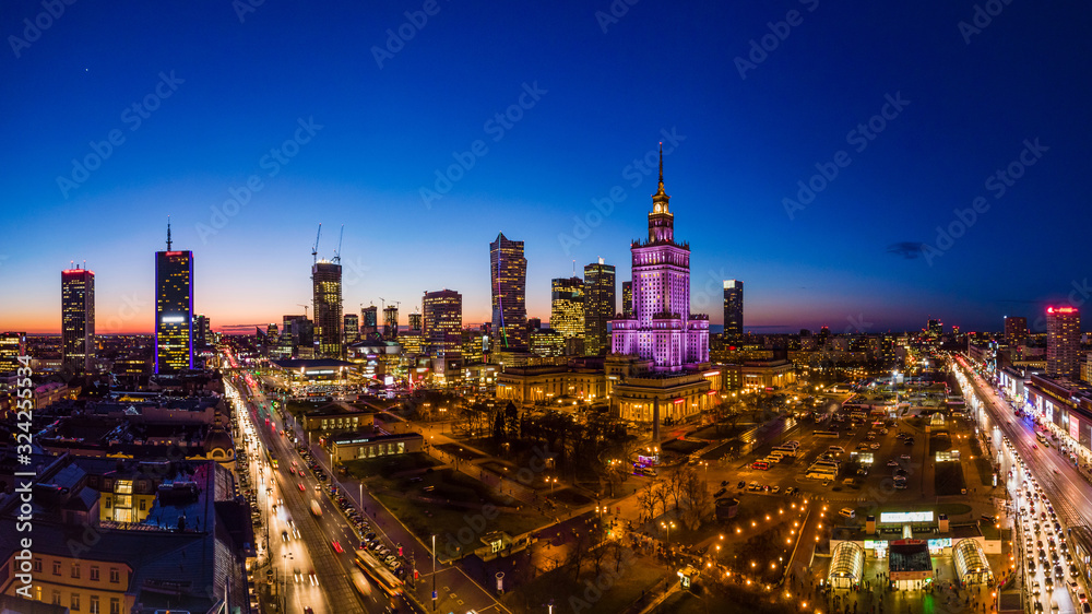 Fototapeta Warszawa, widok na centrum miasta o zachodzie slońca