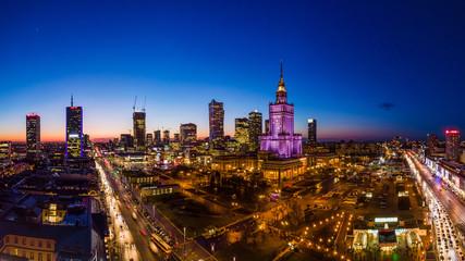 Warszawa, widok na centrum miasta o zachodzie slońca
