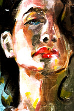 Sad Woman Portrait In Oils Clo...