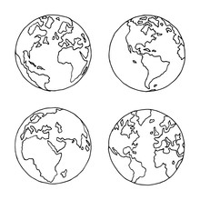 Hand Drawn Globe In Four Proje...