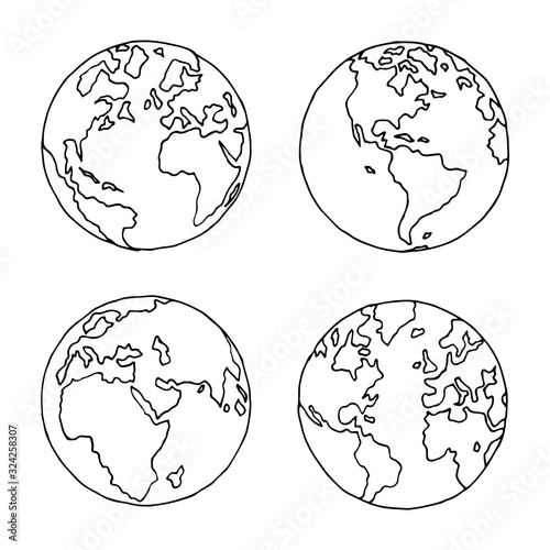 Hand drawn globe in four projections. Western and eastern, north and south hemispheres. Not exactly precision outline drawing of world map in black and white colors. Vector illustration in EPS8.