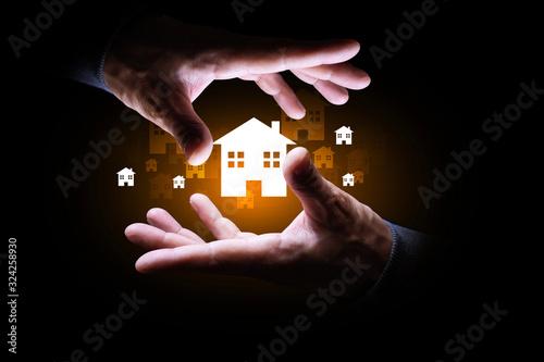 Photo mano, casa, immobiliare, case, edilizia