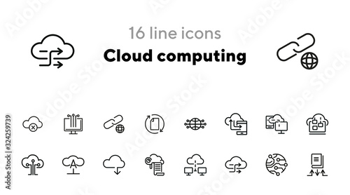 Obraz Cloud computing line icon set. Set of line icons on white background. Programming concept. System, service, device. Vector illustration can be used for topics like technology, internet, computer - fototapety do salonu