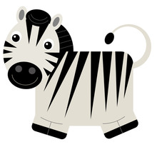Cartoon Scene With Zebra On Wh...