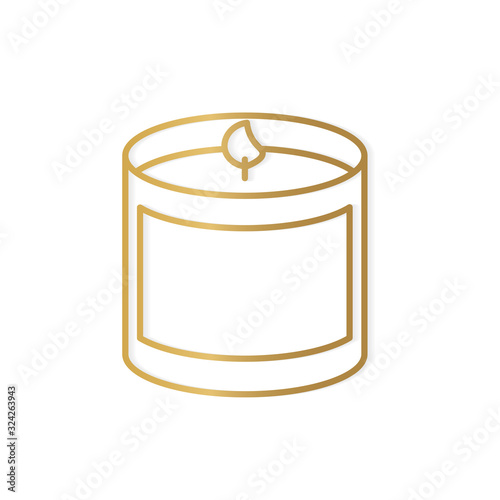Fototapeta golden scented candle icon- vector illustration