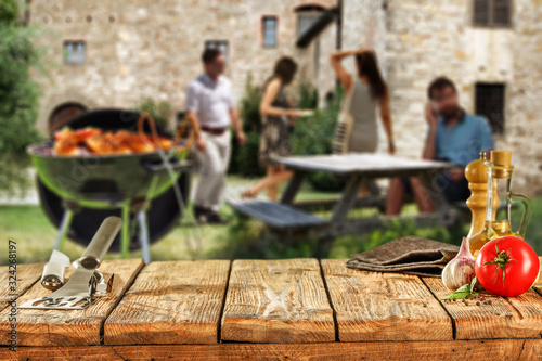 Cuadros en Lienzo Desk of free space for your decoration and grill time.