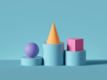 3d Render, Abstract Geometric Background. Violet Ball, Yellow Cone, Pink Cube Placed On Blue Cylinder Pedestal Steps. Isolated Objects, Primitive Shapes. Modern Minimal Concept