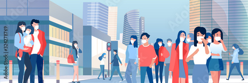 Obraz Vector of a crowd of people wearing protective respiratory masks walking on a street with cityscape background. - fototapety do salonu