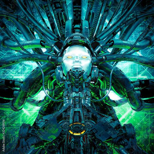 Robot flight cockpit / 3D illustration of science fiction female alien android s Canvas Print