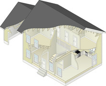 An Isometric Vector Illustration Of A House Cutaway