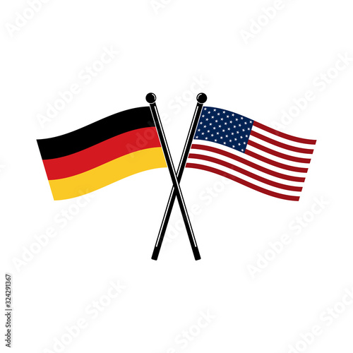 Photo National state crossed flags of Germany and USA in appropriate color, size and proportions