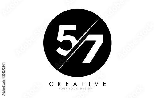 Fototapeta 57 5 7 Number Logo Design with a Creative Cut and Black Circle Background