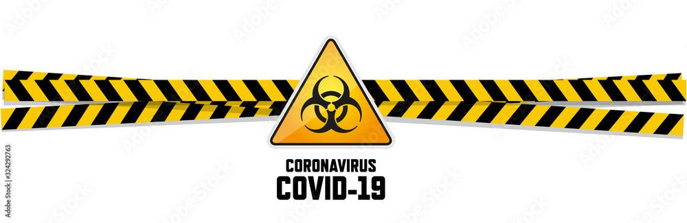 Fototapeta Warning coronavirus sign on white banner