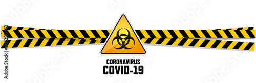 Photo Warning coronavirus sign on white banner