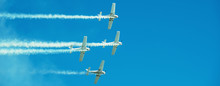 Panorama Of Airplanes With Whi...