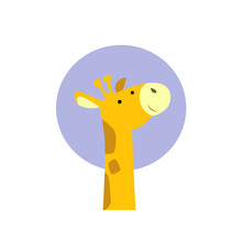 Minimalist Fashion Illustration For Kids Of A Giraffe Head With Violet Circle Behind For Printing T-shirts And Children's Books