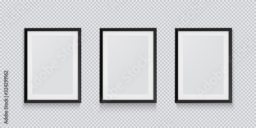 Obraz Three realistic black picture or photo frame isolated on transparent background. Vector illustration. - fototapety do salonu