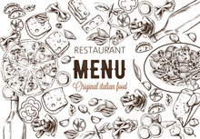 Line Art Food Composition With Delicious Pizza, Pasta With Tomatoes, Cheese And Red Wine. Sketch Style. Italian Restaurant Menu Template. Vector