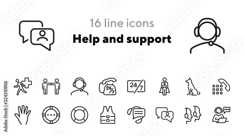 Help and support icons Canvas Print