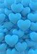 hearts love blue 3d illustration