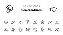 Sea Creatures Line Icon Set. S...