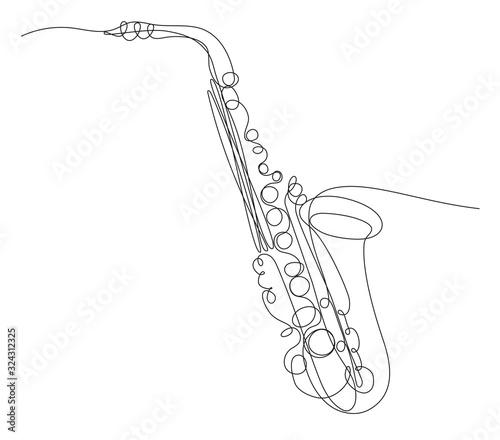 Fotomural disegno a singola linea continua di sassofono