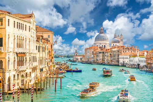 Grand Canal and Basilica Santa Maria della Salute, Venice, Italy Wallpaper Mural